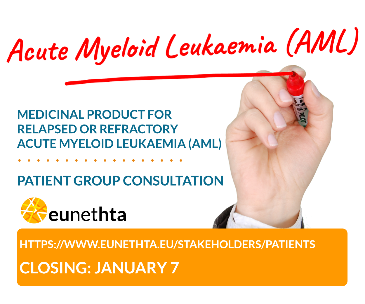 Public consultation on medicinal product for relapsed or refractory Acute Myeloid Leukaemia (AML)