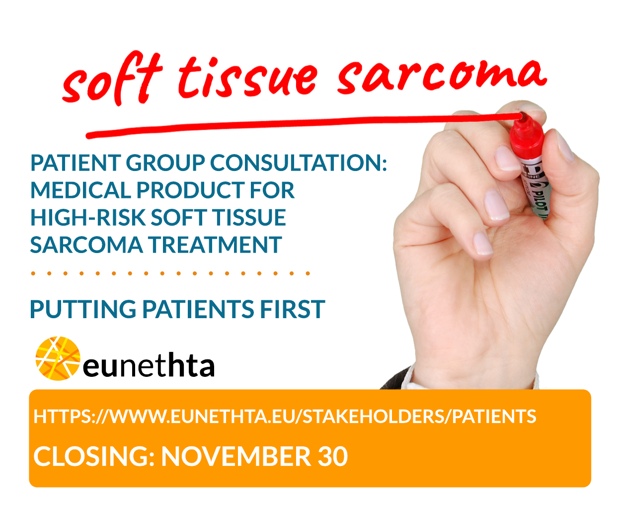 Patient group consultation now open: medical product for high-risk soft tissue sarcoma treatment